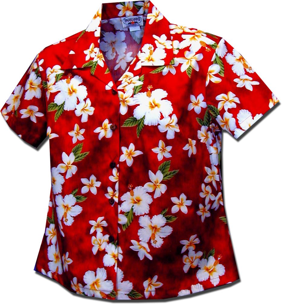 348-3236 Red Pacific Legend Ladies Fitted Hawaiian Shirt
