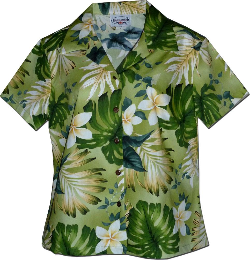 5c3f9dfd 348-3688 Sage Pacific Legend Ladies Fitted Hawaiian Shirt