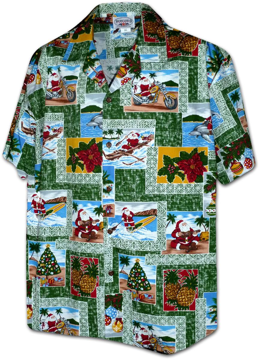 b57c0431 410-3818 Green Men's Christmas Hawaiian Shirts