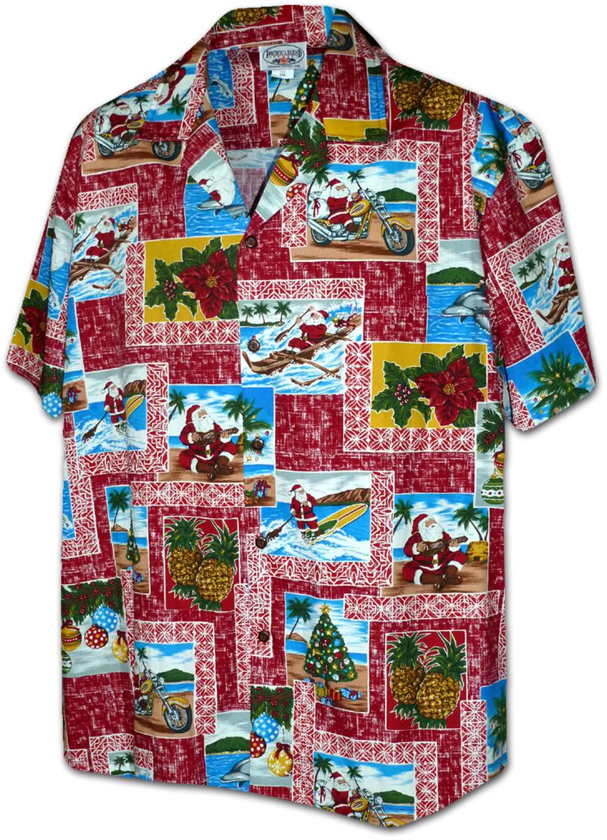 410 3818 red mens christmas hawaiian shirts - Christmas In Hawaiian