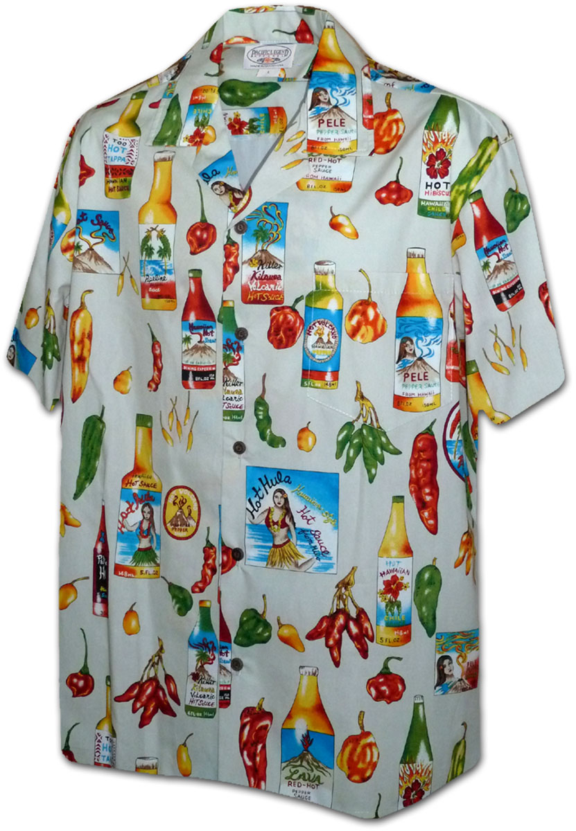 60f45cfb 410-3840 Cream Men's Hawaiian Shirts