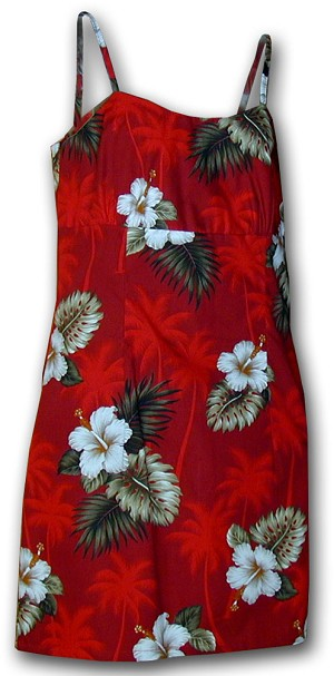 306-2798 Red Pacific Legend Short Spaghetti Dress