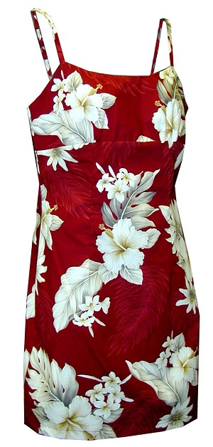 306-3162 Red Pacific Legend Short Spaghetti Dress