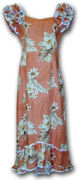 334-3162 Peach Pacific Legend Long Ruffle Muumuu