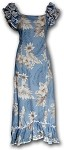 334-3162 Blue Pacific Legend Long Ruffle Muumuu