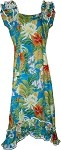 334-3799 Blue Pacific Legend Long Ruffle Muumuu