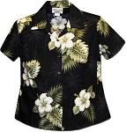 348-2798 Black Pacific Legend Ladies Fitted Hawaiian Shirt