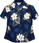 348-2798 Navy Pacific Legend Ladies Fitted Hawaiian Shirt
