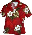 348-2798 Red Pacific Legend Ladies Fitted Hawaiian Shirt