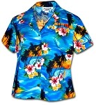 348-3104 Blue Pacific Legend Ladies Fitted Hawaiian Shirt