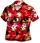 348-3104 Red Pacific Legend Ladies Fitted Hawaiian Shirt
