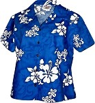348-3156 Blue Pacific Legend Ladies Fitted Hawaiian Shirt