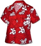 348-3156 Red Pacific Legend Ladies Fitted Hawaiian Shirt