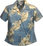 348-3162 Blue Pacific Legend Ladies Fitted Hawaiian Shirt