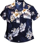 348-3162 Navy Pacific Legend Ladies Fitted Hawaiian Shirt
