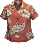 348-3162 Peach Pacific Legend Ladies Fitted Hawaiian Shirt
