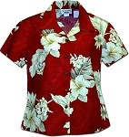 348-3162 Red Pacific Legend Ladies Fitted Hawaiian Shirt