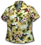 348-3238 Maize Pacific Legend Ladies Fitted Hawaiian Shirt