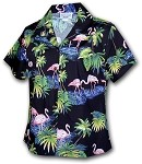 348-3416 Black Pacific Legend Ladies Fitted Hawaiian Shirt