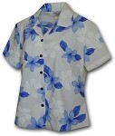 348-3551 Blue Pacific Legend Ladies Fitted Hawaiian Shirt