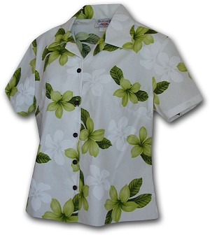348-3551 Lime Pacific Legend Ladies Fitted Hawaiian Shirt