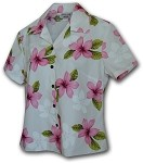 348-3551 Pink Pacific Legend Ladies Fitted Hawaiian Shirt