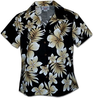 348-3559 Black Pacific Legend Ladies Fitted Hawaiian Shirt