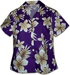 348-3559 Purple Pacific Legend Ladies Fitted Hawaiian Shirt