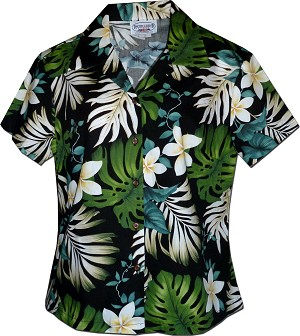 348-3688 Black Pacific Legend Ladies Fitted Hawaiian Shirt