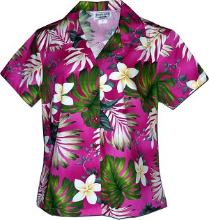 348-3688 Pink Pacific Legend Ladies Fitted Hawaiian Shirt