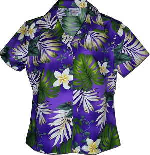 348-3688 Purple Pacific Legend Ladies Fitted Hawaiian Shirt