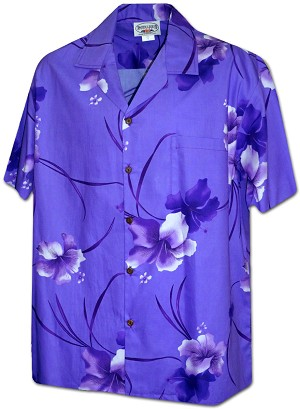 410-3894 Purple Men's Pacific Legend Hawaiian Shirts