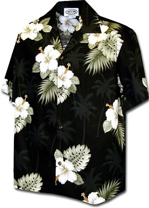 410-2798 Black Men's Hawaiian Shirts