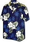 410-2798 Navy Men's Hawaiian Shirts