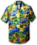 410-3132 Blue Men's Hawaiian Shirts