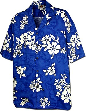 410-3156 Blue Men's Hawaiian Shirts