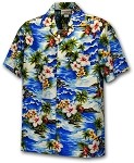410-3238 Blue Men's Hawaiian Shirts