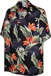 410-3470 Black Men's Hawaiian Shirts