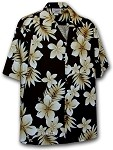 410-3559 Black Men's Hawaiian Shirts