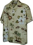 410-3614 Khaki Men's Hawaiian Shirts