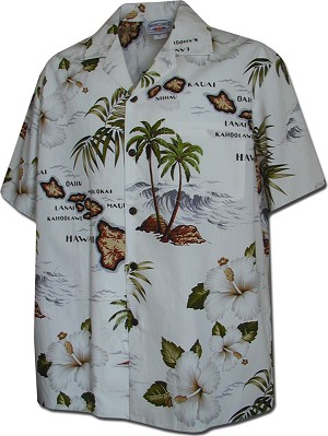 410-3614 White Men's Hawaiian Shirts