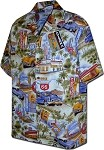 410-3644 Blue Men's Hawaiian Shirts