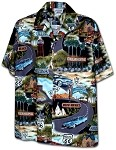 410-3719 Black Men's Hawaiian Shirts