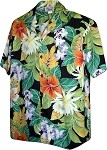 410-3799 Black Men's Hawaiian Shirts