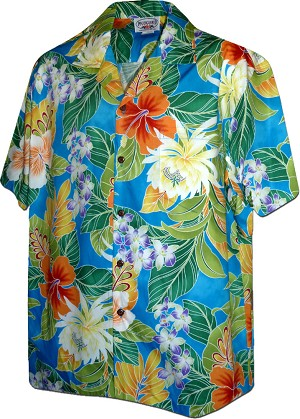 410-3799 Blue Men's Hawaiian Shirts
