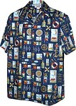410-3810 Navy Men's Hawaiian Shirts
