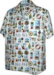 410-3810 White Men's Hawaiian Shirts