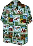 410-3818 Green Men's Christmas Hawaiian Shirts