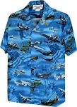 410-3820 BLUE Men's Hawaiian Shirts