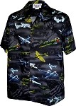 410-3820 Black Men's Hawaiian Shirts